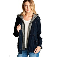 Terry Hood Layered Utility Jacket in Navy
