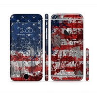The Grungy American Flag Sectioned Skin Series for the Apple iPhone 6 Plus