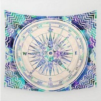 Compass Map Colored Mandala Tapestry Bohemian Wall Art Or Bed Spread