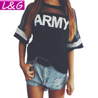 New 2016 Spring Harajuku Style T Shirt Women  Black Mesh Punk ARMY Letter Print T-Shirt Lady Summer Rock Tee Tops