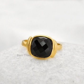 Black Onyx Cushion 10mm Gemstone Micron Gold Plated 925 Sterling Silver Bezel Ring Jewelry - #3003