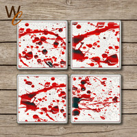 Blood Splattered Drink Coasters, Set of 4,  Boody Horror Scene Ceramic Tiles, Halloween Party Decor, Gag Gift, Zombie Fan, Made To Order