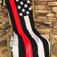 Thin Red Line - Firefighter - American Flag Blanket/Throw - Thin Red Line Quilt - Firefighter Quilt - Thin Red Line Blanket - Firewoman
