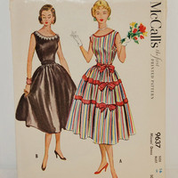 McCall's Printed Pattern 9637 (c. 1953) Misses' Dress Size 16, Knee Length Party Dress, Bows, Sleeveless Dress, Vintage Sewing Pattern