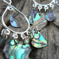 resort wear abalone chandelier mermaid earrings dangle tear drop hoops shell earrings summer mermaids cruise gypsy boho hippie style