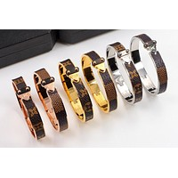 LV Louis Vuitton Fashion New Tartan Monogram Leather Bracelet Jewelry(6-Color) I-HLYS-SP