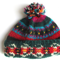 Vintage Hand Knitted Wool Ski Pom Pom Hat Bright Colors