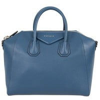 Ready Stock Givenchy Women's Antigona Sugar Goatskin Leather Satchel Bag Teal Blue #610