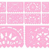 Papel Picado Light Pink, Mexican flag banner, 12 feet Long, Fiesta decoration SB2