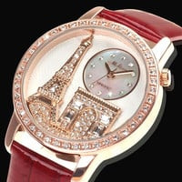 forever2you — Paris Holiday Luxury Rhinestone Watch with Leather Belt