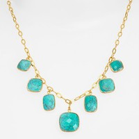 Women's Argento Vivo Frontal Necklace - Gold/ Turquoise
