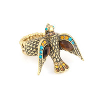 Gold-Tone Multi Color Crtstal Bird Stretch Ring