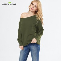 Green Home Sexy Off Shoulder Nursing Tops Maternity Clothes Breastfeeding Sweatershirt