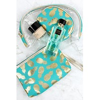 MP0078 - GOLD FOIL PINEAPPLE AND CLEAR 3PCS POUCHES