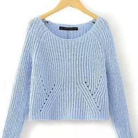 Blue Sky Cropped Knitted Soft Sweater