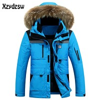 Brand Thick Down Jacket Men 2016 Winter Casual Hooded Jackets Mens Warm Waterproof Raccoon Fur Collar For-30 Degrees 2016 Coats