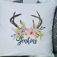 Watercolor throw pillow, Flower pillow, Decorative Pillows, Throw Pillow Cover, housewarming gift Antlers pillow, Inked pillow cover, Pillow