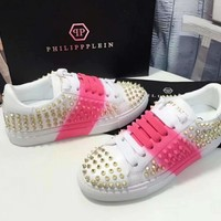 Summer new philipp plein candy color blooming casual shoes rivet shoes
