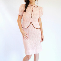RESERVED ----1940's Lace Dress - Pale Pink Peplum 40's Sheer Dress - Size M