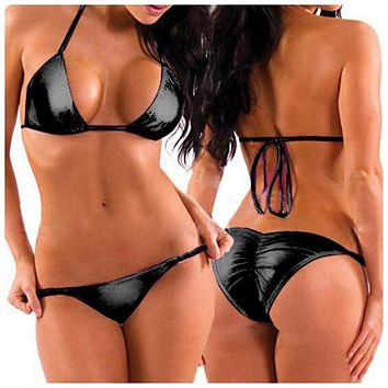Shiny Sexy Women Two-Piece PU Leather Bikini Swimsuit Mini Triangle Thongs+Bra Tops