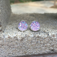 MONSTER SALE Earrings Lavender Druzy Stud Earrings Boho Jewelry 10MM