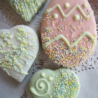Easter Pastel green/pink  Brownie Hearts and Egg 3-3 half inch Brownies Coated with Chocolate, Pink, White,
