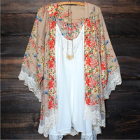 NEW Fashion Women Retro  Chiffon Floral Loose Batwing Long Sleeve Vintage Lace Hem Kimono Cardigan Outerwear Coat = 1946988740