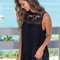 Black Top with Mesh Detail