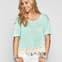 H.I.P. Crochet Trim Womens Crop Top Mint  In Sizes