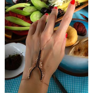 Angel Wing V Clear ,Black Zircon Hand Crafted Hand Chain Bracelet Solid 925 Sterling Silver Adjustable14K Gold, Rose Gold, White Gold Option/s Available