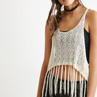 Fringed Open-Knit Crop Top | Forever 21 - 2000157450