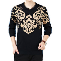 Auspicious Clouds Knit V-Neck Ribbed Trim Pullover Sweater