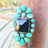 Turquoise & Onyx Cluster Ring