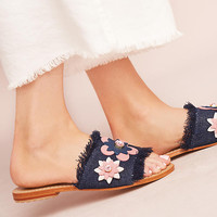 Mystique Denim Floral Slide Sandals