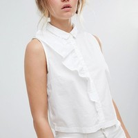 Only Ruffle Front Sleeveless Blouse at asos.com