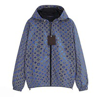 LV Louis Vuitton Newest Women Men Reflective Hoodie Zipper Jacket Coat Windbreaker Sportswear Blue