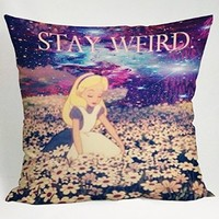 Alice in Wonderland Stay Weird Galaxy Pillow Case (16x16 one side)