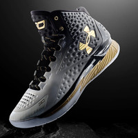 Men's Under Armour Stephen Curry One MVP Black White Gold Basketball Shoes