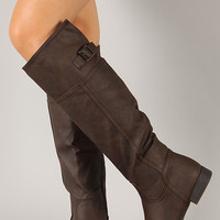 Land-57 Buckle Riding Knee High Boot