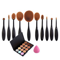 10 Pcs Beauty Toothbrush Brushes 15 Colors Concealer + Powder Puff Soft Makeup Brush Professional Cosmetic Set High Quality