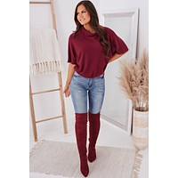 Waiting On You Knit Cowl Neck Top (Burgundy)