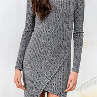 Gray Stand Collar Knitted Long Sleeve Dress