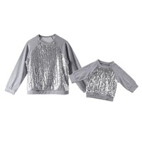 Mom And Daughter Silver Matching Sweatshirts