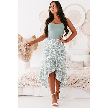 Radiating Confidence Printed Wrap Skirt (Ivory)