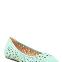 Mint Faux Leather Laser Cut Out Flats