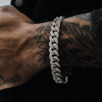 Diamond Cuban Link Bracelet (12mm) in White Gold