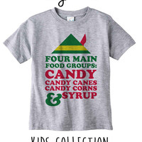 Four Main Food Groups Candy Candy Canes Candy Corns And Syrup Christmas Elf Heather Grey / White Toddler Kids T Shirt Clothes Gift