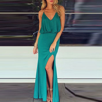 Halter V-neck Blouson Slit Maxi Dress with T Back