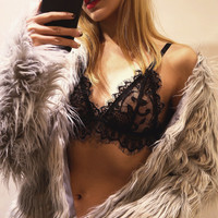 Sexy Lace Shirt Solid Color Fashion Bralette Woman Comfortable Bra [9639948675]