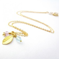 Leaf Charm Necklace In Gold Filled With Aquamarine And Amethyst | Luulla